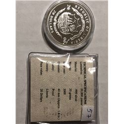999 Silver Republic of Liberia 20 Dollars Proof Coin in Original Package
