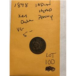 1898 Key Date Indian Head Penny Very Good Grade Nice Early US Coin