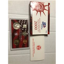 2000 S SILVER DCAM Proof Set no Quarters in Original Box with Paperwork