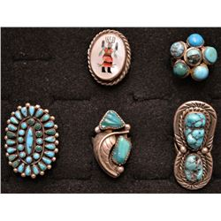 FIVE NAVAJO AND ZUNI INDIAN RINGS