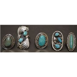 FIVE NAVAJO INDIAN RINGS