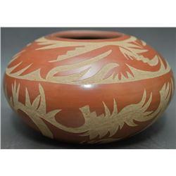 SANTA CLARA INDIAN POTTERY BOWL (CAMILLO TAFOYA · GRACE MEDICINE FLOWER)