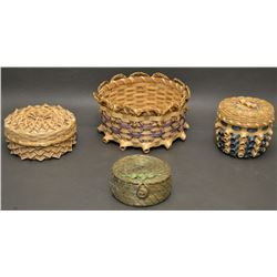 FOUR PASSAMAQUODDY INDIAN BASKETS