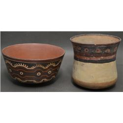 TWO PRE COLUMBIAN POTTERY ITEMS