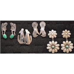 FOUR PAIR NAVAJO INDIAN EARRINGS