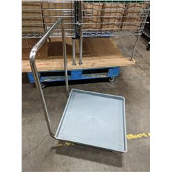 PLASTIC DISH RACK DOLLY W/STAINLESS STEEL HANDLE