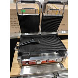 """18"""" X 10"""" DOUBLE PANINI RIBBED GRILL"""