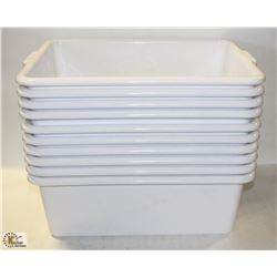 """LOT OF 10 WHITE 7"""" DEEP TOTES"""
