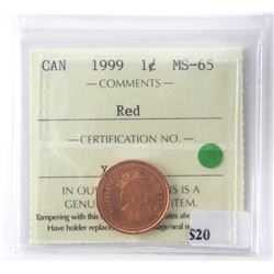1999 - 1 cent, MS-65 RED [ICCS Certified]