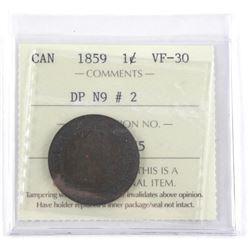 1859 Canada 1 Cent UF-30 DP NA #2 ICCS.