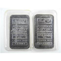Estate Lot (2) JM 999 Fine Silver Bar - 1oz each.