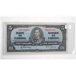 Bank of Canada 1937 Five Dollar Note. G/T (VG)