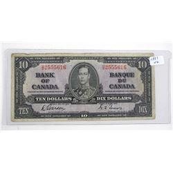 Bank of Canada 1937 Ten Dollar Note. G/T (VG)