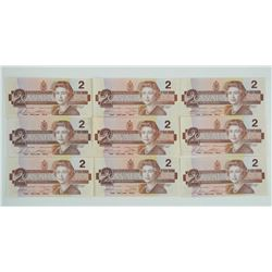 Lot (17) 1986 2.00 UNC in Sequence