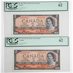 Lot (2) Bank of Canada 1954 Two Dollar Note. Devil