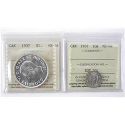 Lot (2) 1937 Coins - Silver Dollar and Ten Cents I
