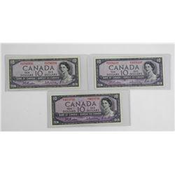 Lot (3) Bank of Canada 1954 Ten Dollar Note. Modif