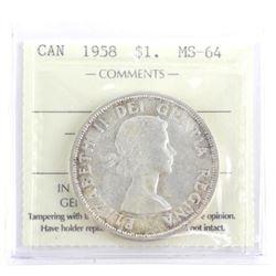1958 Canada Silver Dollar MS64