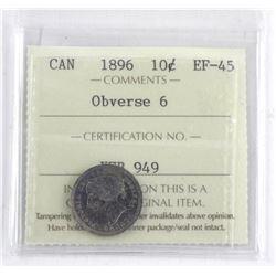 Canada 1896 10 Cent. EF45. ICCS. Obverse 6 (KSR)