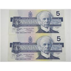Lot (2) Bank of Canada 1986 Five Dollar Note. UNC.