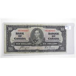 Bank of Canada 1937 Ten Dollar Note. C/T Fine