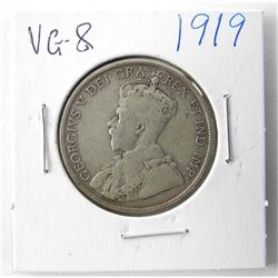 1919 NFLD Silver 50 Cent VG-8.