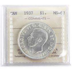 1937 Canada Silver Dollar MS62
