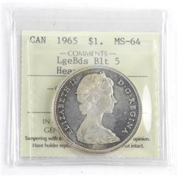 1965 Canada Silver Dollar. MS64. Large Beads . Blt