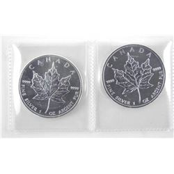 Lot (2) .9999 Fine Silver $5.00 Coins 'Maple Leaf'
