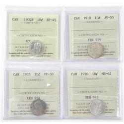 Lot (4) Canada 10 Cent 1902H, 1905, 1910, 1920 ICC