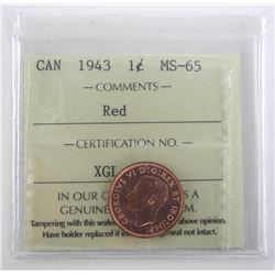 Canada 1943 One Cent MS-65. ICCS.
