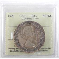 Canada 1953 Silver Dollar. MS64. ICCS. NSF