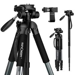 "K&F Concept 70""/177cm Travel Portable Tripod Outdoor Compact Video Aluminum Video Camera Tripod Mono"
