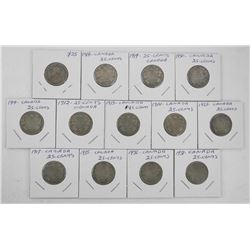 Lot (13) Early Canada Silver 25 Cent.