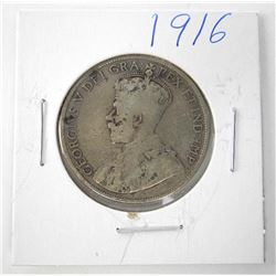 1916 Canada Silver 50 Cent. George