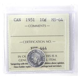 1951 Canada 10 Cent. MS64. ICCS.