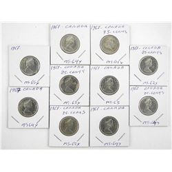 Lot (10) Canada 1867-1967 Silver 50 Cents (SXR)