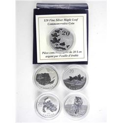 Lot (5) .9999 Fine Silver $20.00 Coins. 20 for 20