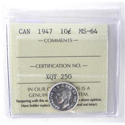 1947 Canada 10 Cent. MS64. ICCS.