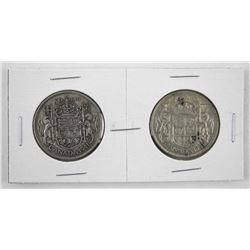 Pair of 1941 Canada Silver 50 Cent Near and Far -