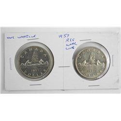 Lot (2) 1957 Canada Silver Dollar ONE WL and REG W