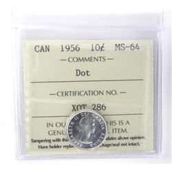1956 Canada Silver 10 Cent ICCS. MS64
