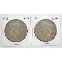 Lot (2) U.S. Silver Peace Dollars: 1923 and 1924