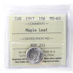 1947 Canada 10 Cent. MS63. ICCS. Maple Leaf