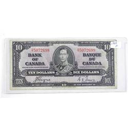 Bank of Canada 1937 Ten Dollar Note (F) (C/T)