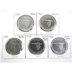 Lot (5) 1867-1967 Canada Silver Dollars - Graded
