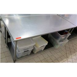 "Stainless Steel Prep Table (bins not included), 71""L x 29.5""W x 35.5""H"
