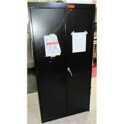 "Tall Metal 2-Door Black Storage Cabinet, 36""L x 18""D x 72""H"