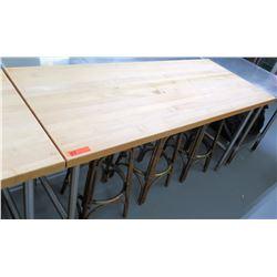"Wood & Metal Working Table w/ Steel Legs, 72""L x 30.25""W x 36""H"