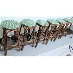 Qty 6 Round Wicker Bamboo Bar Stools w/ Green Upholstery Tops, 30  H